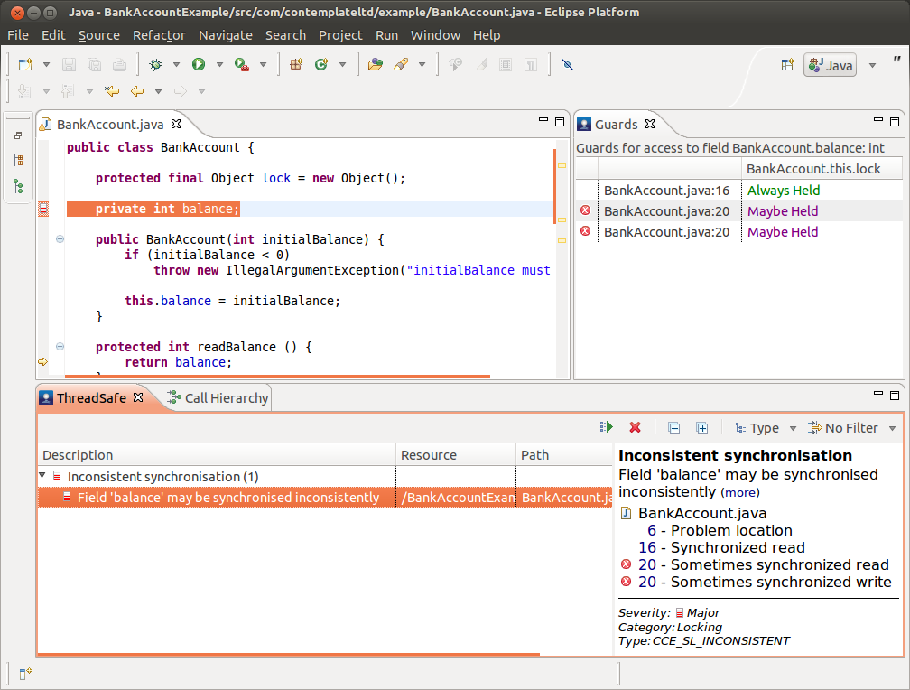 Image: A screenshot of ThreadSafe discovering and helping to diagnose a concurrency defect